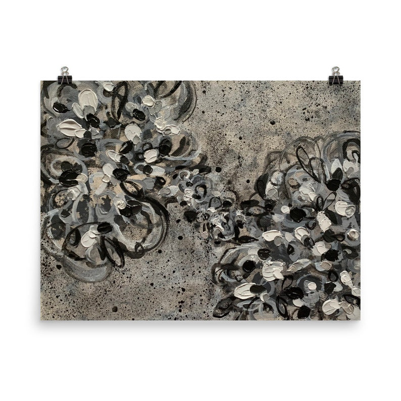 Black White Gray Wall Art Abstract Poster Print Home Decor Floral Painting Flower Artwork