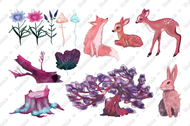 Forest Animals Magical Forest Watercolor Clipart Flowers Clipart Enchanted Forest Forest Clipart Spring Clipart Fairytale Clipart