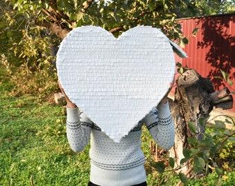 Pull String pinata Ready to Ship Large Pinata Boy or Girl gender reveal Gender Reveal Heart Pinata White Color Pinata