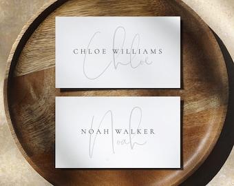 Modern Wedding Place Cards Template, Elegant Wedding Name Cards, Printable Wedding Place Cards, Editable Minimal Escort Cards  - Isla