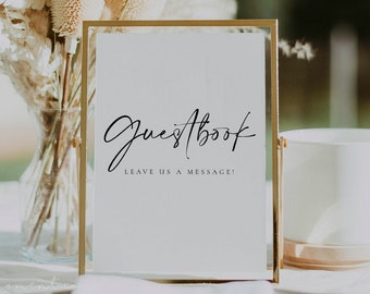 Modern Wedding Guestbook Sign Template, Printable Minimal Table Wedding Reception Guestbook Sign in Multiple Sizes - Celine