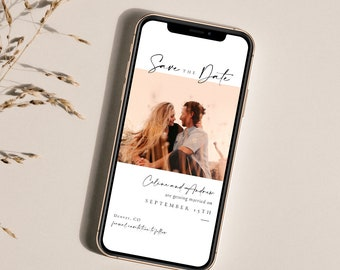 Modern Elegant Wedding Photo Save the Date Evite, Virtual Photo Save the Date, Simple Mobile Photo Save the Date Digital E-vite - Celine