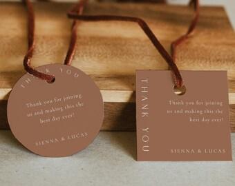 Thank You Gift Tag Template, DIY Wedding Tag, Burnt Orange Wedding Favor Tag, Orange Sticker Template, Modern Favor Tag - Sienna
