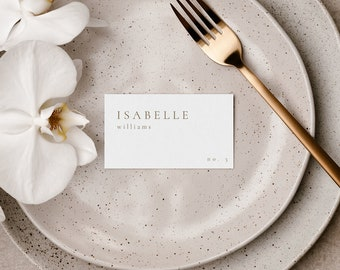 Minimal Wedding Place Cards Template, Modern Wedding Place Cards for Wedding, Editable Printable Rose Gold Place Card Template - Sienna