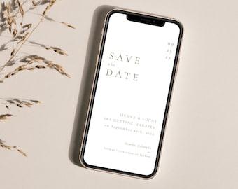 Minimal Gold Wedding Save the Date Evite Template, Digital Save the Date, Mobile Gold Save the Date, Virtual Save the Date Rose Gold- Sienna