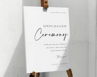 Modern Unplugged Ceremony Sign Template, Minimalist Unplugged Wedding Sign, Elegant and Minimal Unplugged Ceremony Sign for Wedding - Celine