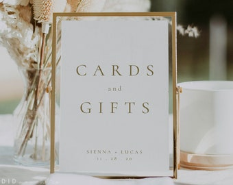 Modern Rust Gold Cards and Gifts Sign Template, Gold Wedding Cards & Gifts Sign, Rust Gold Wedding Reception Sign in Multiple Sizes - Sienna