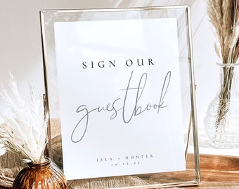 Wedding Guestbook Sign Template, Modern Guestbook Sign, Minimal Elegant Wedding Reception Sign Our Guestbook Sign in Multiple Sizes - Isla