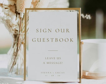 Elegant Gold Wedding Guestbook Sign Template, Printable Table-top Simple Rust and Rose Gold Sign Our Guestbook Wedding Sign - Sienna