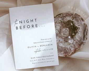 Rehearsal Dinner Template, Wedding Rehearsal Invitation, The Night Before, Modern Wedding Rehearsal Invitation - Liv