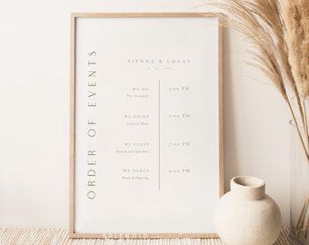 Modern Wedding Timeline Sign Template, Minimal Rust Gold Wedding Timeline Sign, Editable Order of Events Sign, Timeline Template - Sienna