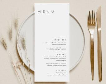 Minimal Modern Wedding Menu Template, Editable Simple Elegant Wedding Menu Template, Printable Minimalist Wedding Menu - Liv (Dove White)