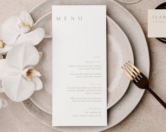 Modern Wedding Menu, Minimal Wedding Menu Template, Burnt Orange Menu, Printable Gold Wedding Menu, Editable Boho Wedding Menu - Sienna