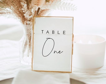 Modern Wedding Table Numbers Template, Printable Minimalist Wedding Table Numbers, Minimal Wedding Table Numbers - Liv (Dove White)