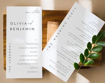 Modern Minimal Wedding Program Template, Printable Elegant and Modern Wedding Order of Service in Multiple Sizes - Liv (Dove White)