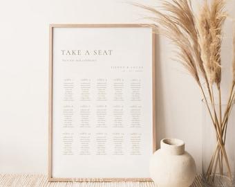 Elegant Wedding Seating Chart Template, Modern Take a Seat Sign, Bohemian Seating Chart, Rust Gold Seating Chart, Seating Sign - Sienna