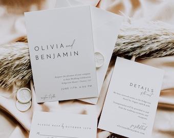 Minimal Modern Wedding Invitation Suite, Simple Elegant Wedding Invitation Template, Printable Minimalist Wedding Invitation Set - Liv