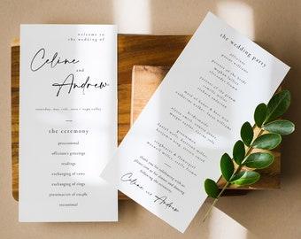 Modern Elegant Wedding Program Template, Printable Modern Wedding Program, Editable Wedding Program Card, Modern Ceremony Program - Celine