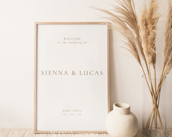 Modern Elegant Wedding Welcome Sign Template, Editable Welcome Wedding Sign, Elegant Wedding Sign, Minimal Simple Welcome Sign- Sienna