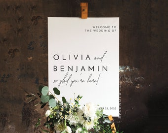 Wedding Welcome Sign Template, DIY Welcome Wedding Sign, Minimal Welcome Wedding Sign, Minimalist Modern Welcome Sign - Liv (Dove White)