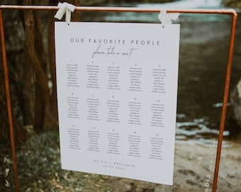 Minimal Elegant Wedding Seating Chart Sign Template, Editable Modern Our Favorite People Seating Chart Wedding Sign - Liv (Dove White)