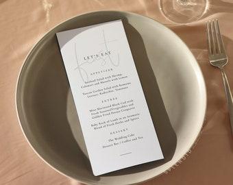 Modern Wedding Menu Template, Printable Wedding Menu, Let's Eat Menu, DIY Wedding Menu, Simple Elegant Wedding Menu Template Editable - Isla