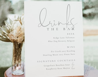 Elegant Bar Sign Template, Wedding Drinks Sign, Wedding Drinks Sign Template, Bar Template, Bar Menu Sign, Printable Wedding Bar Sign - Isla