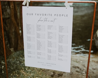 Alphabetical Seating Chart Template, Minimal Seating Chart Template, Wedding Seating Chart Alphabetical, Simple Elegant Seating Chart - Liv