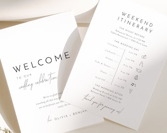 Wedding Itinerary Timeline Card Template, Printable Itinerary Template, Wedding Timeline, Modern Wedding Weekend Itinerary Template - Liv