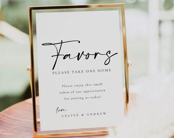 Wedding Favors Sign Template, Editable Elegant Wedding Favors Gift Sign Template, Printable Wedding Favours Sign - Celine