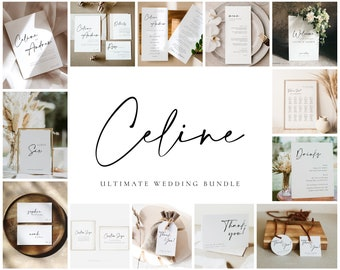 CELINE - Ultimate Wedding Bundle, Modern Elegant Wedding Template Bundle, DIY Wedding Invitation Template Download, Big Invitation Bundle