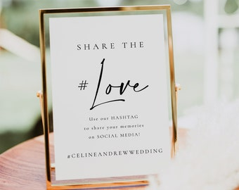 Wedding Hashtag Sign Template, Wedding Social Media Sign, Share the Love Social Media Gram Sign, Hashtag Wedding Sign Printable - Celine