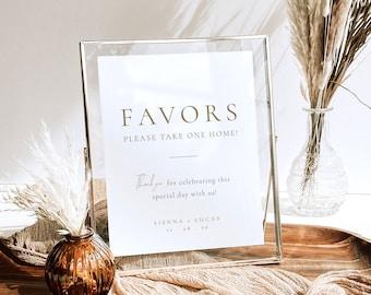 Printable Rust Gold Wedding Favors Sign Template, Editable Elegant Wedding Favors Sign, Personalized Wedding Favours Sign Template - Sienna