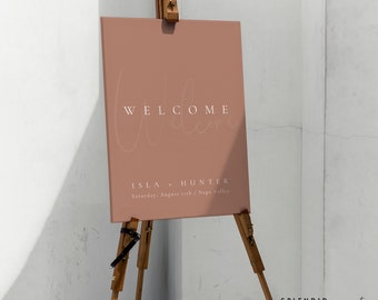 Boho Desert Wedding Welcome Sign Template, Desert Brown Welcome to Our Wedding Sign, Bohemian Welcome Sign for Wedding Template - Isla