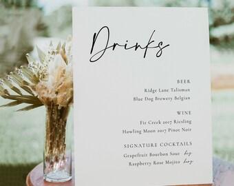 Modern Wedding Bar Sign Template, Editable Elegant Wedding Drinks Menu Sign Template, Simple Cursive Bar Sign in Multiple Sizes - Celine