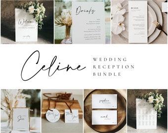 Modern Wedding Reception Bundle, Editable Wedding Sign Template Set, Reception Wedding Kit, Welcome Sign Seating Chart Menu & More - CELINE
