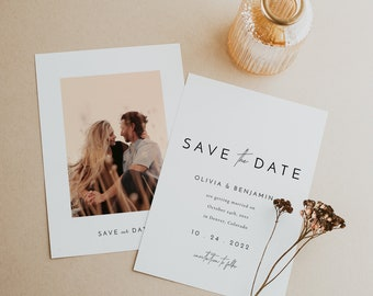 Minimal Save the Date Template, Simple Elegant Save the Date Card in Multiple Sizes, Printable Editable Save Our Date Template - Liv