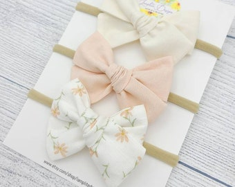 /& Dusty Blue Rust Mustard Set of 3 Hand Tied Bows-Headbands or Clips