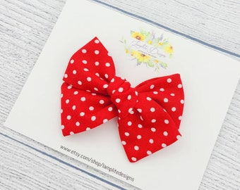 Red Polka-dot Hand Tied Baby Bow