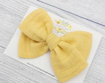 hair bow for girls women hair bow yellow handtied fabric hair bow big hair bow Yellow hair bow baby headband hair bow yellow hair clip