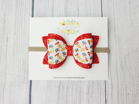 Cinco de Mayo accessories Mexican food baby bow headband or alligator clip Tacos and Nachos Faux Leather Hair Bow baby toddler girl
