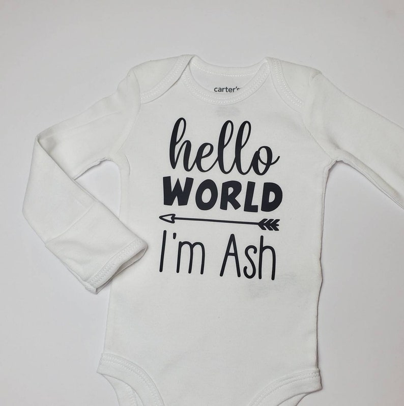 boy or girl black and white neutral Hello World Personalized baby coming home outfit bodysuit pants hat baby shower gift