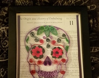Sugar Skull quilling on Embalming textbook paper