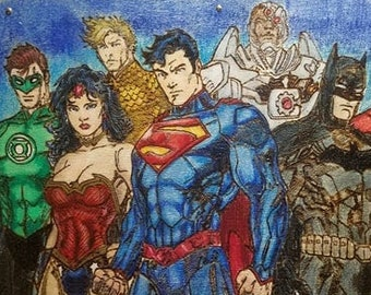 Justice League pyrography