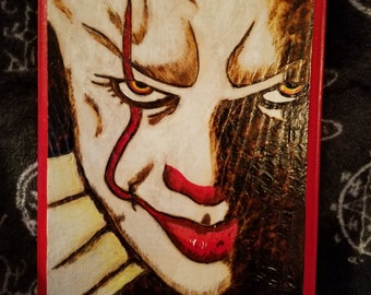 Pennywise wood burned plaque