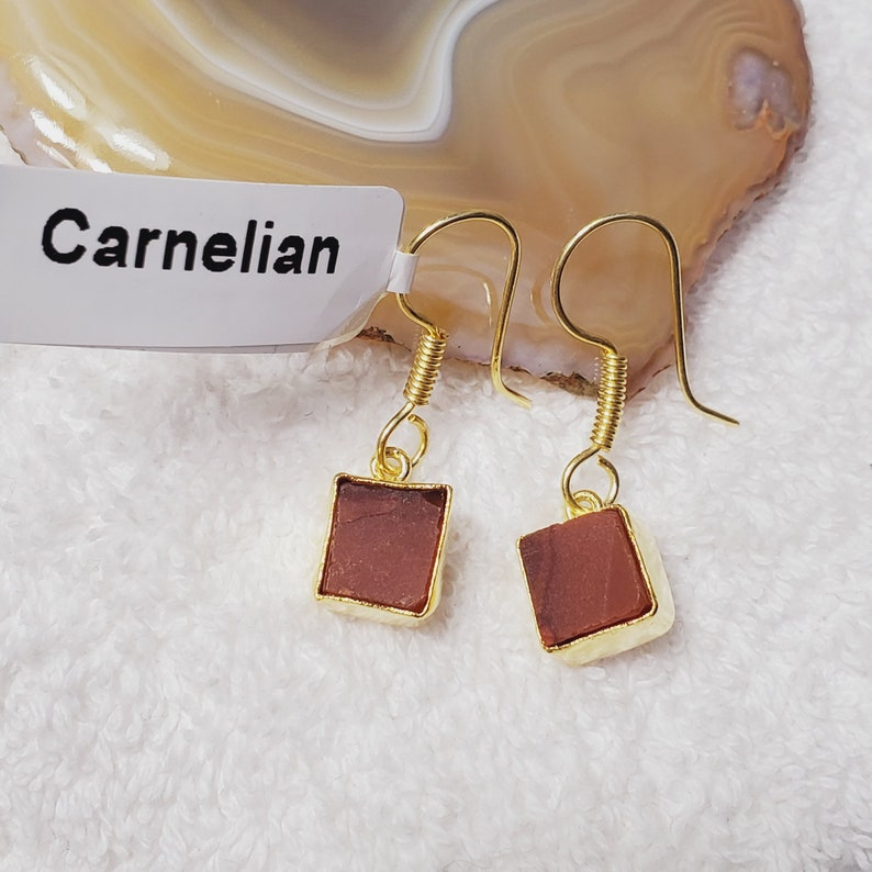 Gift For Her Dangle Earring CL1215 18k Gold Plated Brass Earring Raw Carnelian Earring Handmade Earring Christmas Gift Unique Earring