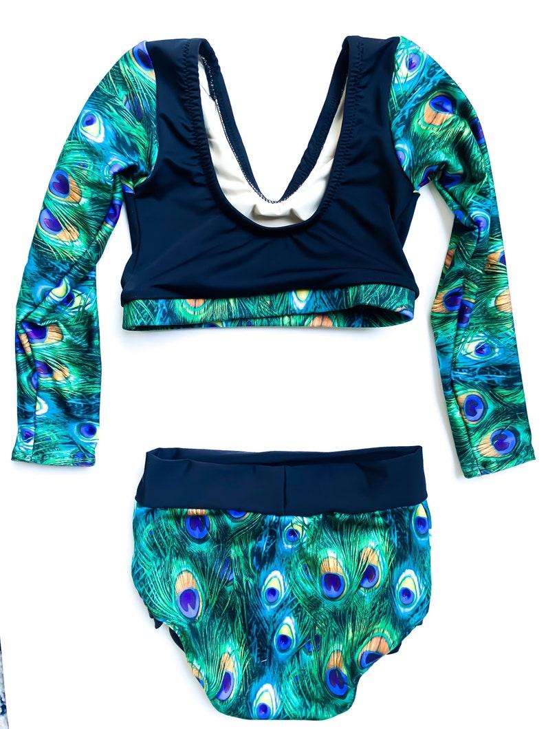 Girl\u2019s Size 6 Black and Green 2 Piece Peacock Dance Gymnastics Leotard Bodysuit Costume