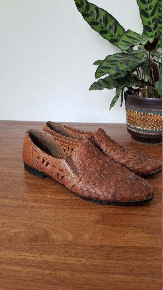 Vintage Leather Slip On Shoes, Leather Loafers, Br