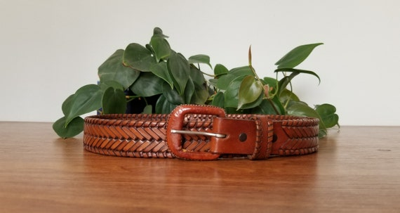 Vintage Brown Leather Woven Belt, Braided Leather