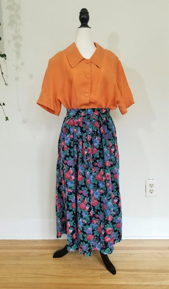 vintage silk skirt pleated skirt floral skirt midi skirt maxi skirt Eddie Bauer size M